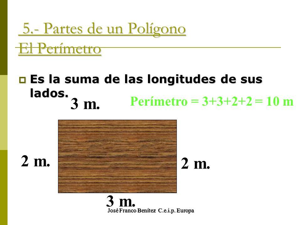 José Franco Benítez C.e.i.p. Europa 5.- Partes de un Polígono El Perímetro 5.- Partes de un Polígono El Perímetro Es la suma de las longitudes de sus