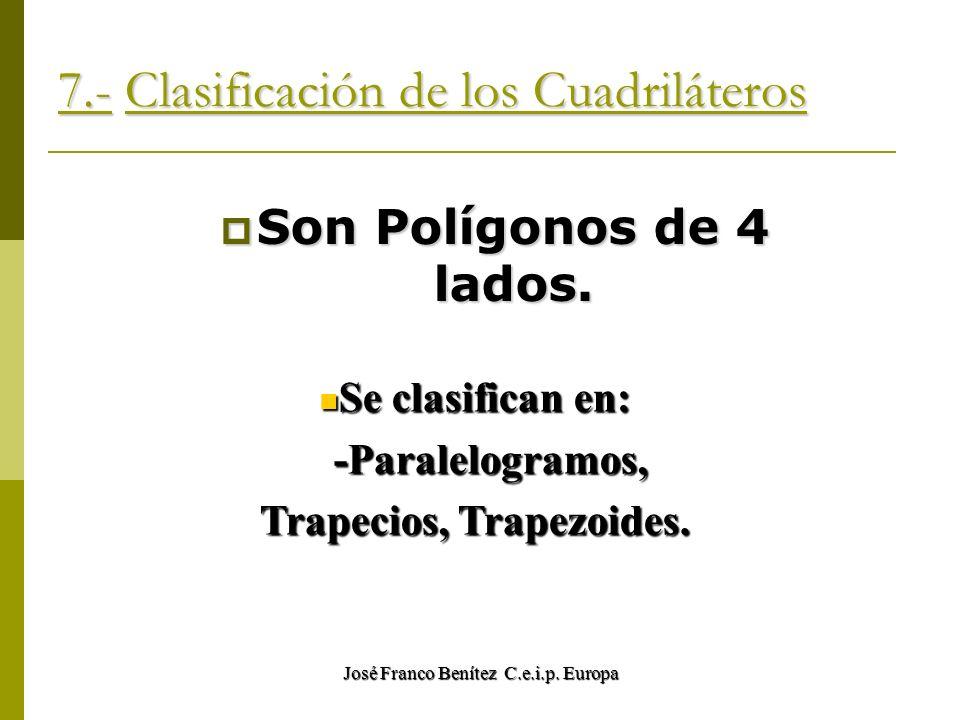 José Franco Benítez C.e.i.p. Europa 7.- Clasificación de los Cuadriláteros Son Polígonos de 4 lados. Se clasifican en: Se clasifican en: -Paralelogram