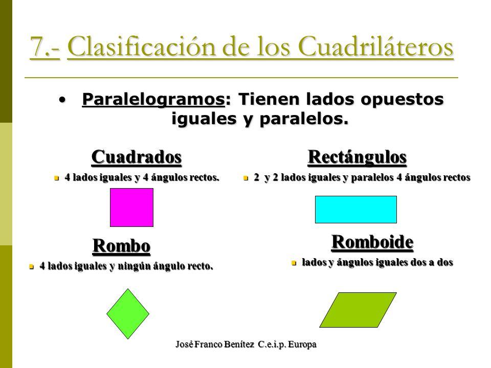 José Franco Benítez C.e.i.p. Europa 7.- Clasificación de los Cuadriláteros Paralelogramos: Tienen lados opuestos iguales y paralelos. Paralelogramos: