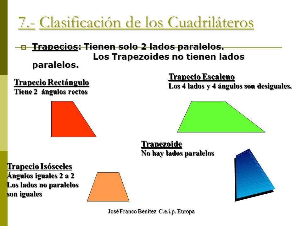 José Franco Benítez C.e.i.p. Europa 7.- Clasificación de los Cuadriláteros Trapecios: Tienen solo 2 lados paralelos. Los Trapezoides no tienen lados p