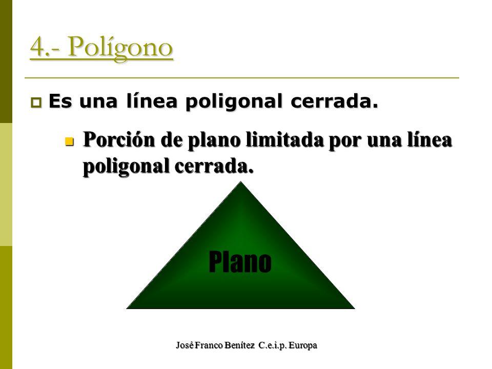 José Franco Benítez C.e.i.p. Europa 4.- Polígono Es una línea poligonal cerrada. Porción de plano limitada por una línea poligonal cerrada. Plano