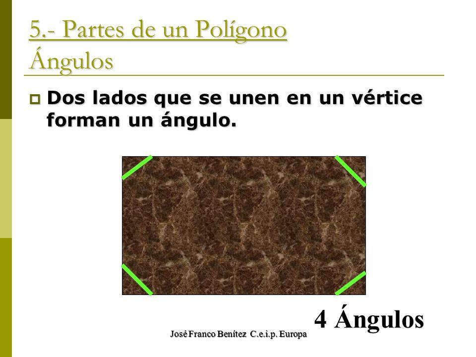 José Franco Benítez C.e.i.p. Europa 5.- Partes de un Polígono Ángulos Dos lados que se unen en un vértice forman un ángulo. Dos lados que se unen en u