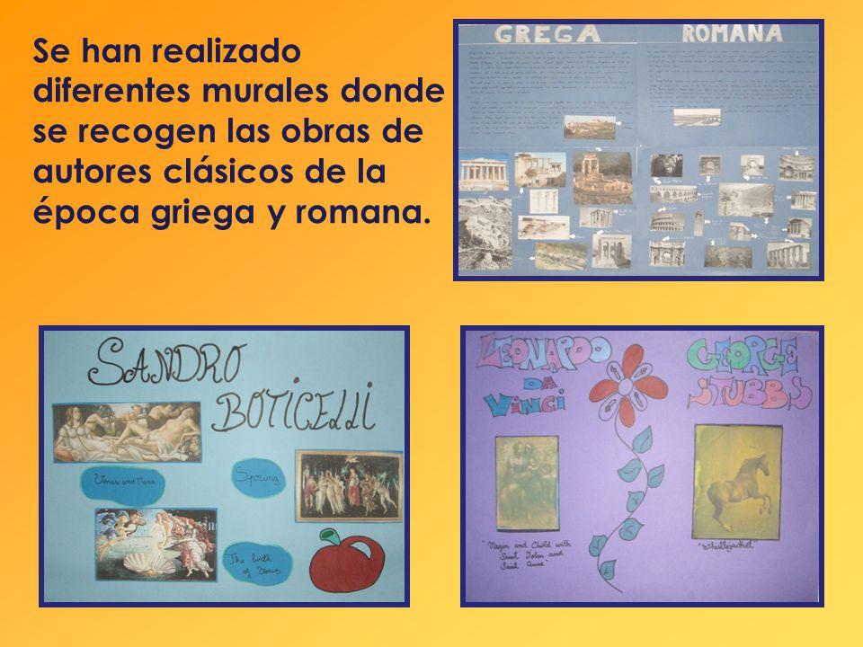 Se han realizado diferentes murales donde se recogen las obras de autores clásicos de la época griega y romana.