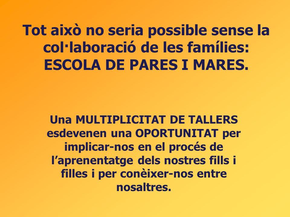 Tot això no seria possible sense la col·laboració de les famílies: ESCOLA DE PARES I MARES. Una MULTIPLICITAT DE TALLERS esdevenen una OPORTUNITAT per