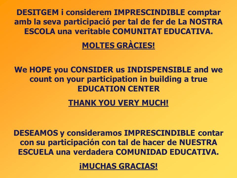 DESITGEM i considerem IMPRESCINDIBLE comptar amb la seva participació per tal de fer de La NOSTRA ESCOLA una veritable COMUNITAT EDUCATIVA. MOLTES GRÀ