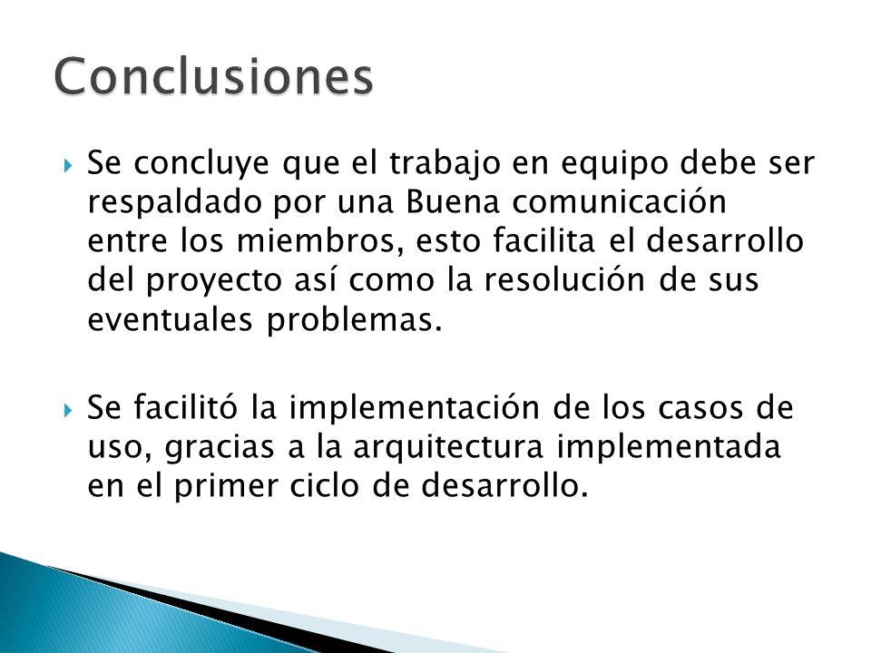 Se concluye que el trabajo en equipo debe ser respaldado por una Buena comunicación entre los miembros, esto facilita el desarrollo del proyecto así como la resolución de sus eventuales problemas.