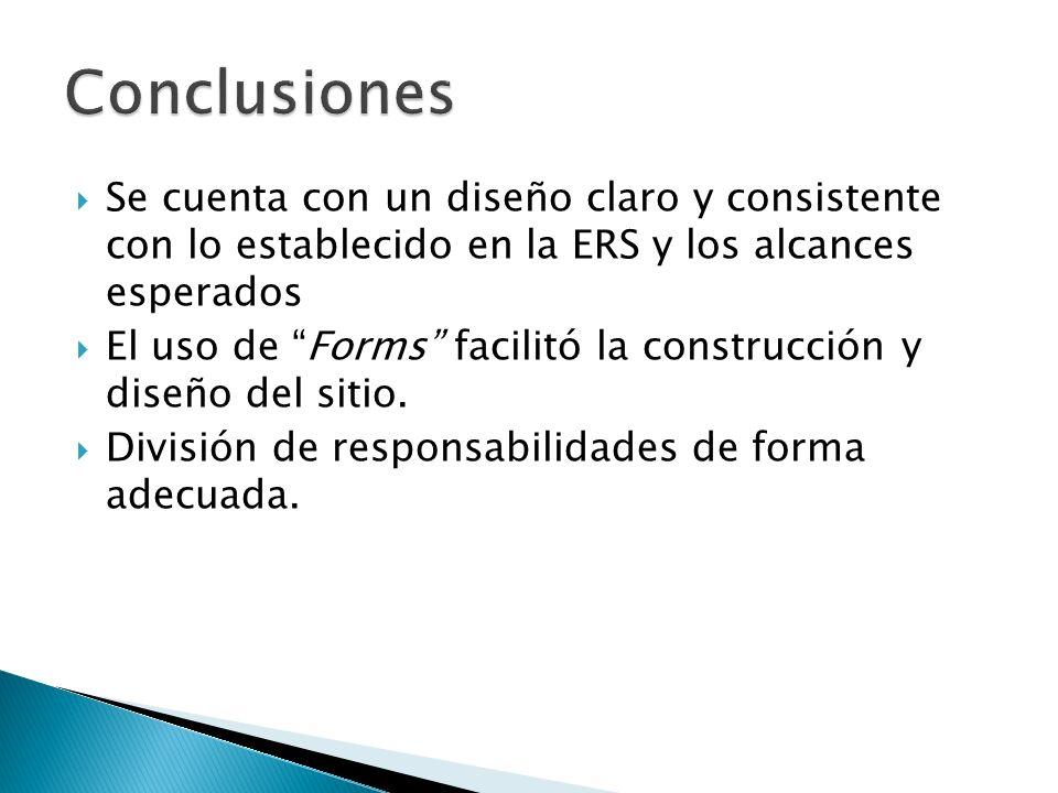 Se cuenta con un diseño claro y consistente con lo establecido en la ERS y los alcances esperados El uso de Forms facilitó la construcción y diseño del sitio.