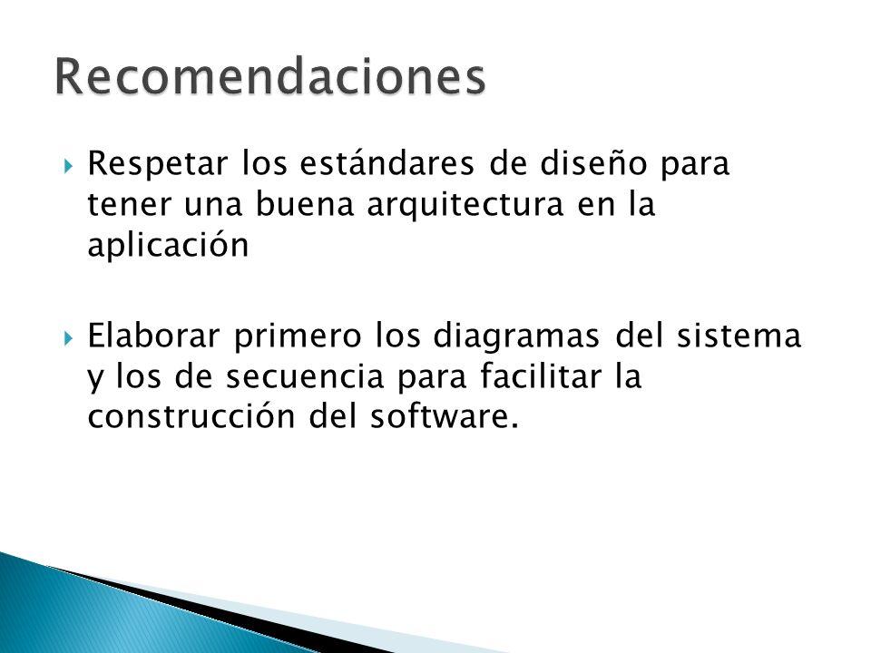 Respetar los estándares de diseño para tener una buena arquitectura en la aplicación Elaborar primero los diagramas del sistema y los de secuencia para facilitar la construcción del software.