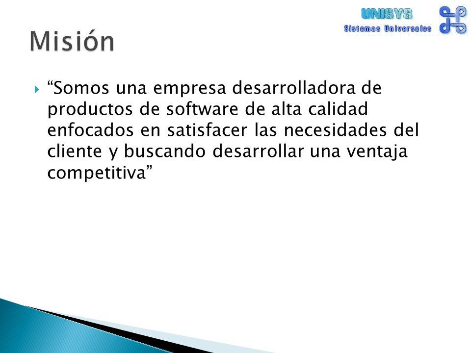 Somos una empresa desarrolladora de productos de software de alta calidad enfocados en satisfacer las necesidades del cliente y buscando desarrollar una ventaja competitiva