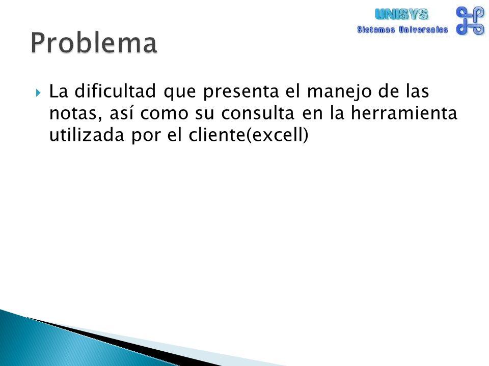 La dificultad que presenta el manejo de las notas, así como su consulta en la herramienta utilizada por el cliente(excell)