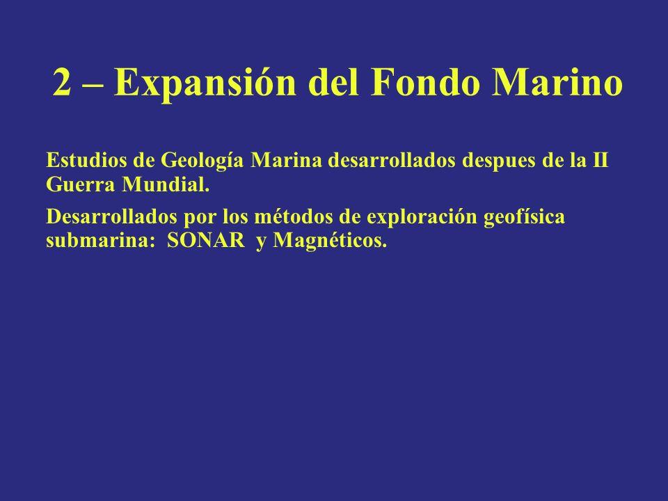2 – Expansión del Fondo Marino Estudios de Geología Marina desarrollados despues de la II Guerra Mundial. Desarrollados por los métodos de exploración