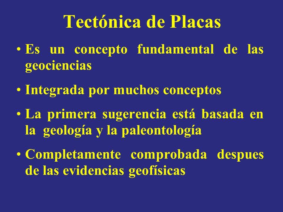 Tectónica de Placas Es un concepto fundamental de las geociencias Integrada por muchos conceptos La primera sugerencia está basada en la geología y la