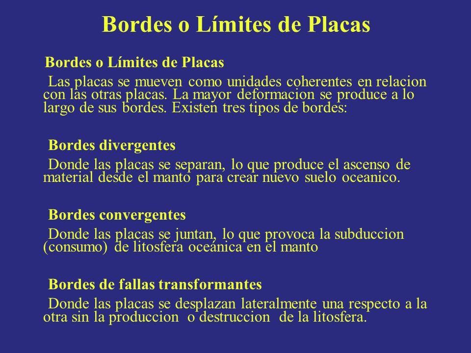 Bordes o Límites de Placas Las placas se mueven como unidades coherentes en relacion con las otras placas. La mayor deformacion se produce a lo largo