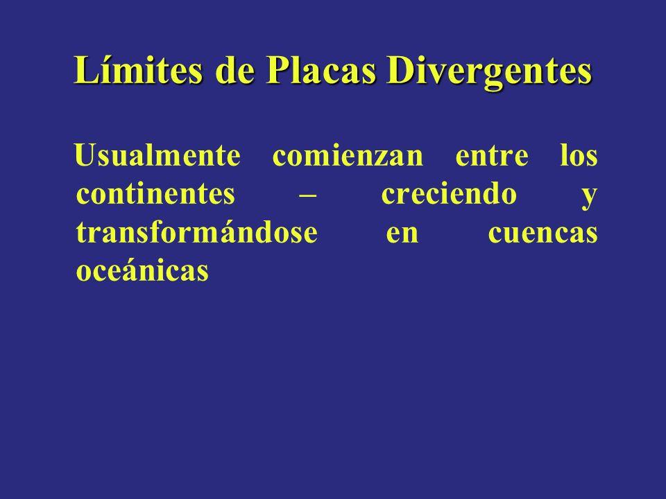 Límites de Placas Divergentes Usualmente comienzan entre los continentes – creciendo y transformándose en cuencas oceánicas