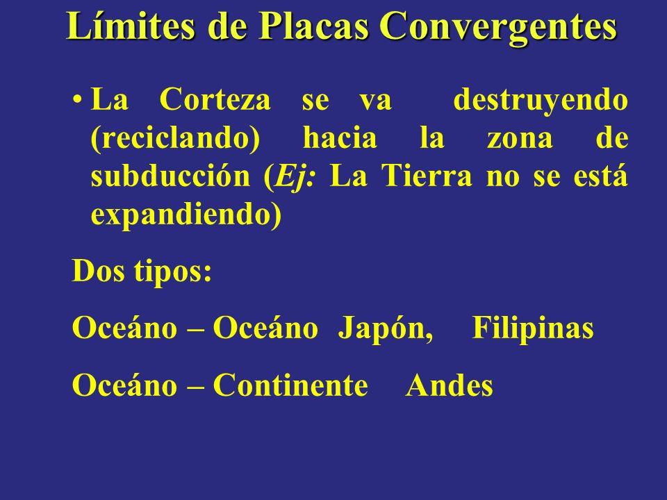 Límites de Placas Convergentes La Corteza se va destruyendo (reciclando) hacia la zona de subducción (Ej: La Tierra no se está expandiendo) Dos tipos: