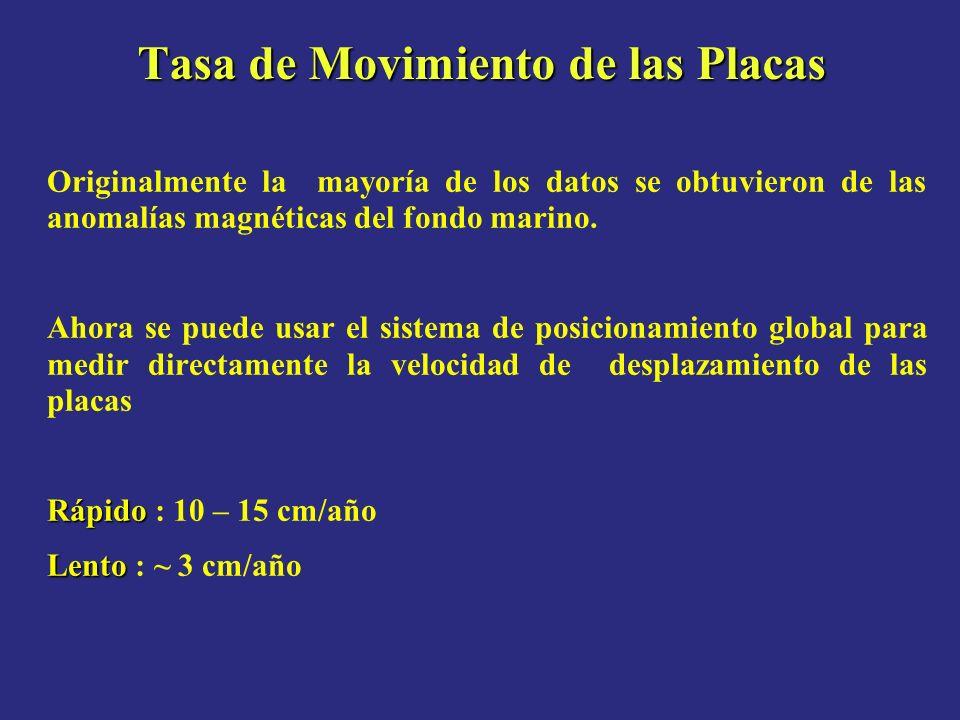 Tasa de Movimiento de las Placas Originalmente la mayoría de los datos se obtuvieron de las anomalías magnéticas del fondo marino. Ahora se puede usar