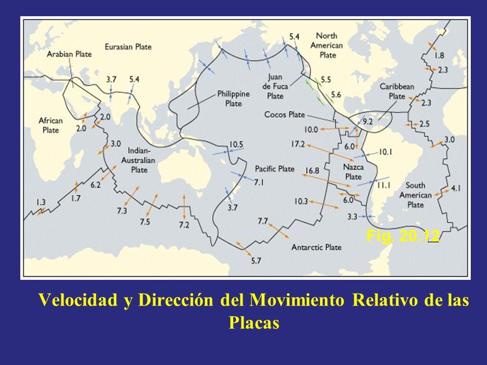 Velocidad y Dirección del Movimiento Relativo de las Placas Fig. 20.12