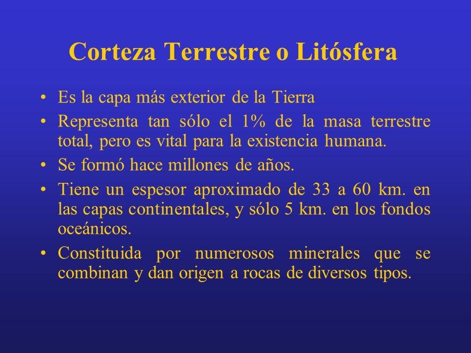 Corteza Terrestre o Litósfera Es la capa más exterior de la Tierra Representa tan sólo el 1% de la masa terrestre total, pero es vital para la existen