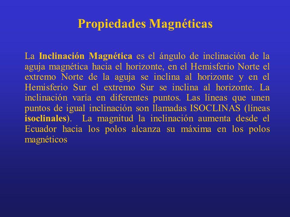Propiedades Magnéticas La Inclinación Magnética es el ángulo de inclinación de la aguja magnética hacia el horizonte, en el Hemisferio Norte el extrem