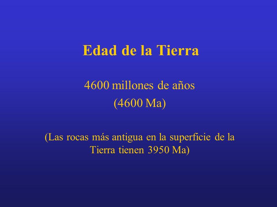 Edad de la Tierra 4600 millones de años (4600 Ma) (Las rocas más antigua en la superficie de la Tierra tienen 3950 Ma)