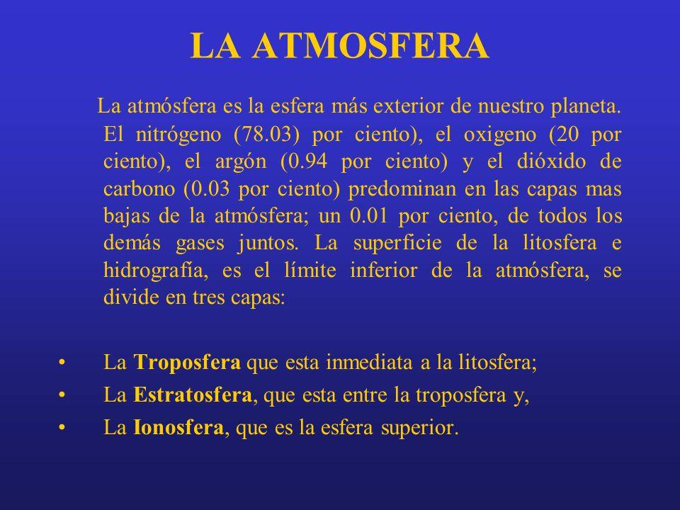 LA ATMOSFERA La atmósfera es la esfera más exterior de nuestro planeta. El nitrógeno (78.03) por ciento), el oxigeno (20 por ciento), el argón (0.94 p