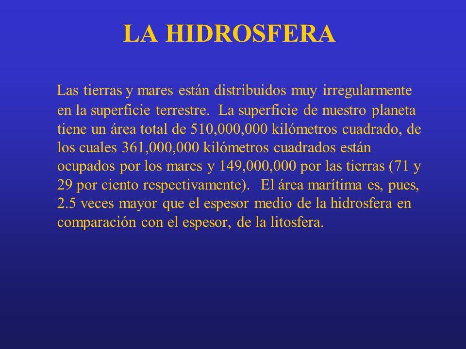 LA HIDROSFERA Las tierras y mares están distribuidos muy irregularmente en la superficie terrestre. La superficie de nuestro planeta tiene un área tot