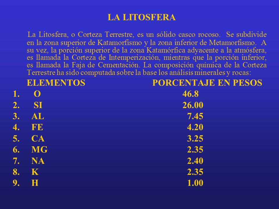 LA LITOSFERA La Litosfera, o Corteza Terrestre, es un sólido casco rocoso. Se subdivide en la zona superior de Katamorfismo y la zona inferior de Meta