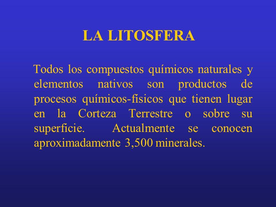 LA LITOSFERA Todos los compuestos químicos naturales y elementos nativos son productos de procesos químicos-físicos que tienen lugar en la Corteza Ter