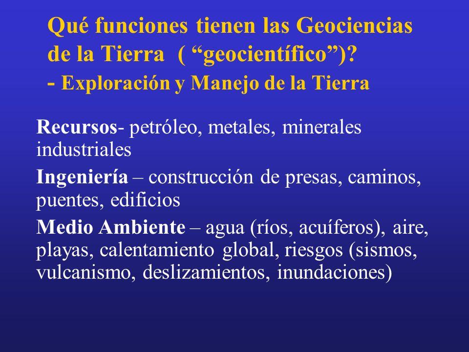 Qué funciones tienen las Geociencias de la Tierra ( geocientífico)? - Exploración y Manejo de la Tierra Recursos- petróleo, metales, minerales industr