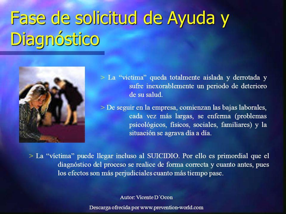 Autor: Vicente D´Ocon Descarga ofrecida por www.prevention-world.com Fase de solicitud de Ayuda y Diagnóstico > La victima queda totalmente aislada y