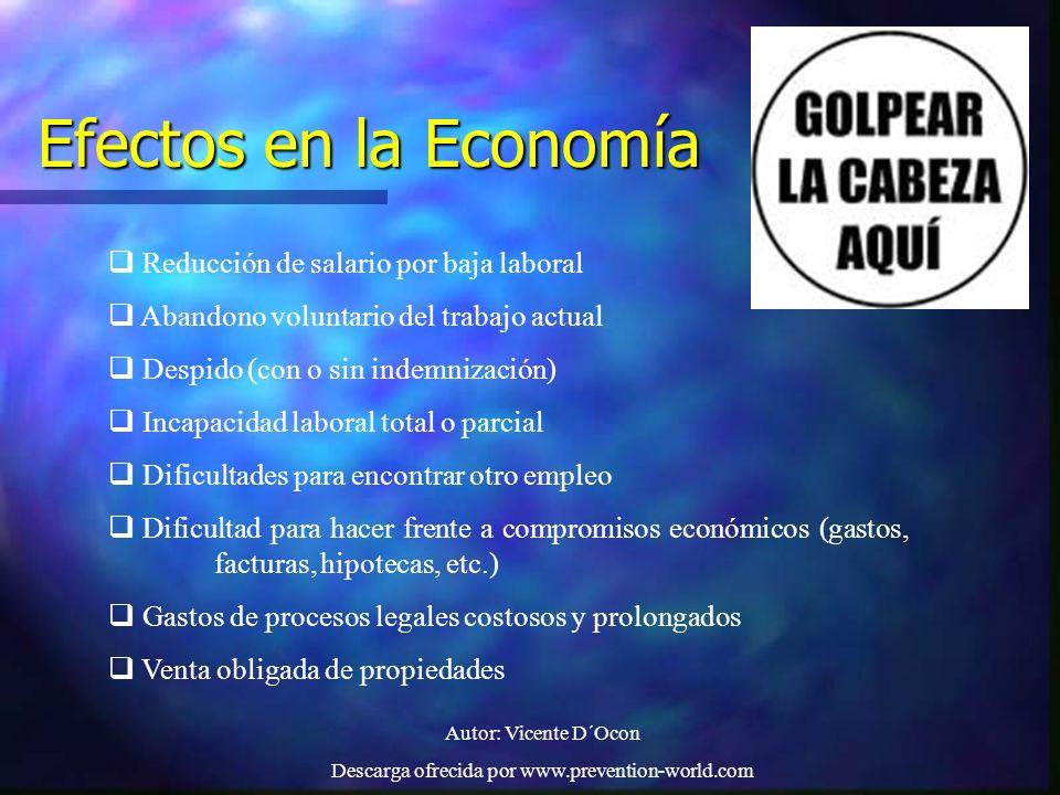 Autor: Vicente D´Ocon Descarga ofrecida por www.prevention-world.com Efectos en la Economía Reducción de salario por baja laboral Abandono voluntario