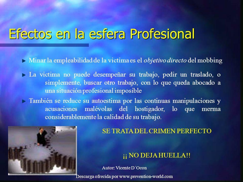 Autor: Vicente D´Ocon Descarga ofrecida por www.prevention-world.com Efectos en la esfera Profesional Minar la empleabilidad de la victima es el objet