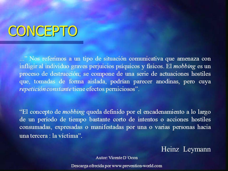 Autor: Vicente D´Ocon Descarga ofrecida por www.prevention-world.com CONCEPTO... Nos referimos a un tipo de situación comunicativa que amenaza con inf
