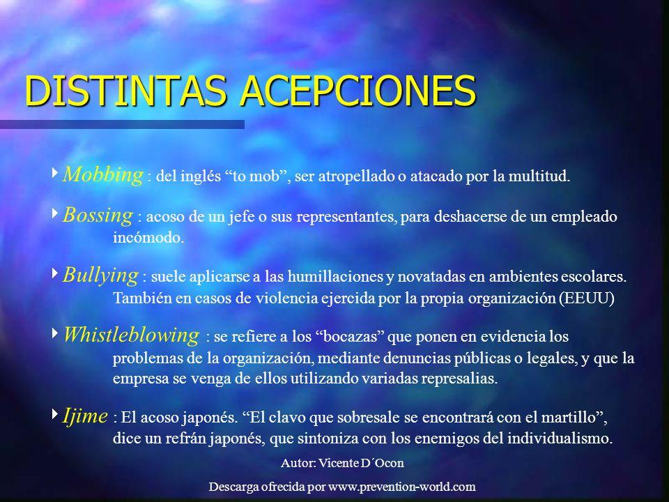 Autor: Vicente D´Ocon Descarga ofrecida por www.prevention-world.com EFECTOS DEL ACOSO PSICOLÓGICO EL CRIMEN PERFECTO : EFECTOS EN LA SALUD FÍSICA EFECTOS PSICOLÓGICOS EFECTOS EN LA VIDA SOCIAL, FAMILIAR Y LAS RELACIONES INTERPERSONALES EFECTOS EN LA ECONOMÍA EFECTOS EN LA ESFERA PROFESIONAL