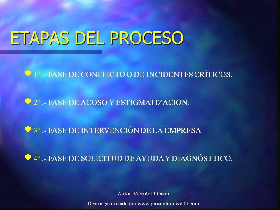 Autor: Vicente D´Ocon Descarga ofrecida por www.prevention-world.com ETAPAS DEL PROCESO 1ª.- FASE DE CONFLICTO O DE INCIDENTES CRÍTICOS. 2ª.- FASE DE