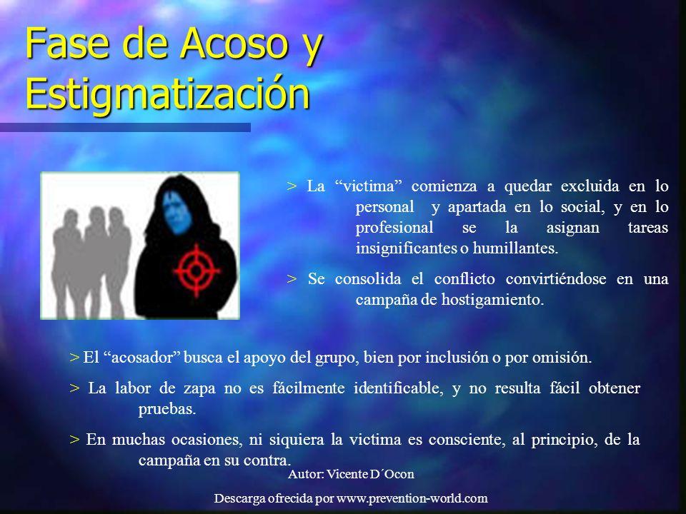 Autor: Vicente D´Ocon Descarga ofrecida por www.prevention-world.com Fase de Acoso y Estigmatización > La victima comienza a quedar excluida en lo per