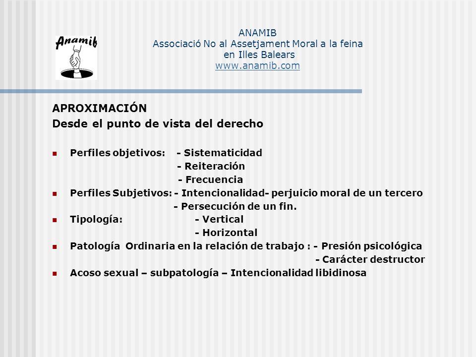 APROXIMACIÓN Desde el punto de vista del derecho Perfiles objetivos: - Sistematicidad - Reiteración - Frecuencia Perfiles Subjetivos: - Intencionalida