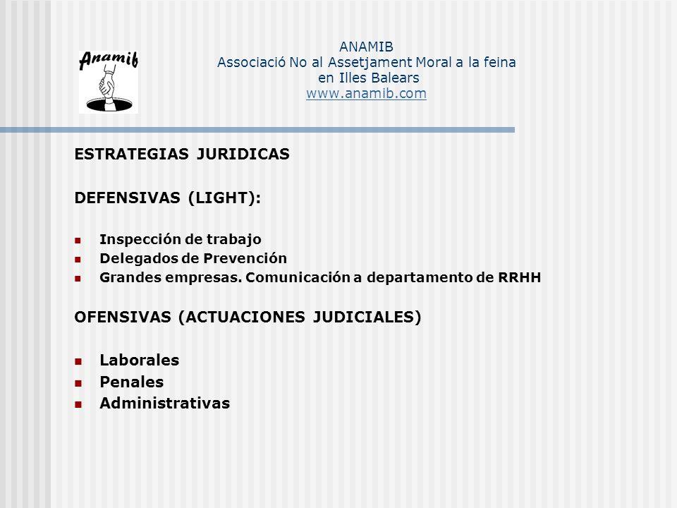 ESTRATEGIAS JURIDICAS DEFENSIVAS (LIGHT): Inspección de trabajo Delegados de Prevención Grandes empresas. Comunicación a departamento de RRHH OFENSIVA