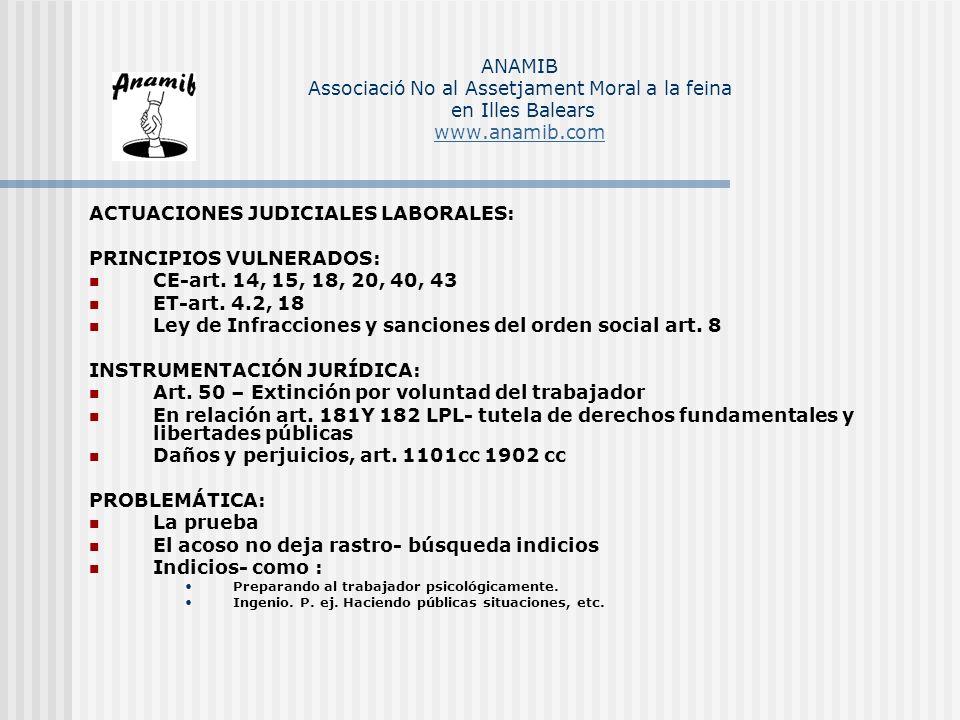 ACTUACIONES JUDICIALES LABORALES: PRINCIPIOS VULNERADOS: CE-art. 14, 15, 18, 20, 40, 43 ET-art. 4.2, 18 Ley de Infracciones y sanciones del orden soci