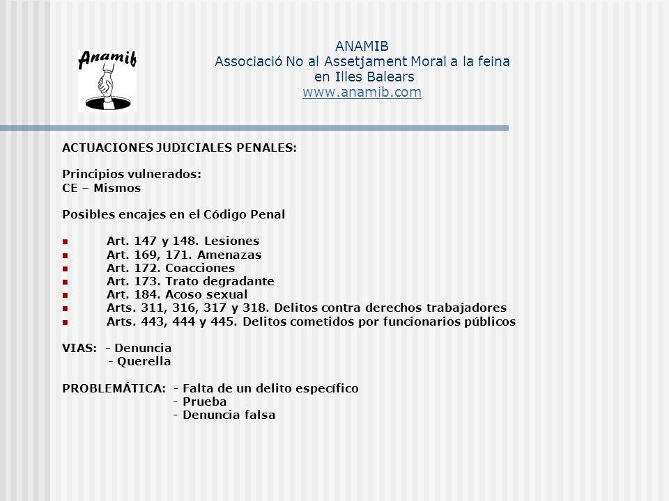 ACTUACIONES JUDICIALES PENALES: Principios vulnerados: CE – Mismos Posibles encajes en el Código Penal Art. 147 y 148. Lesiones Art. 169, 171. Amenaza