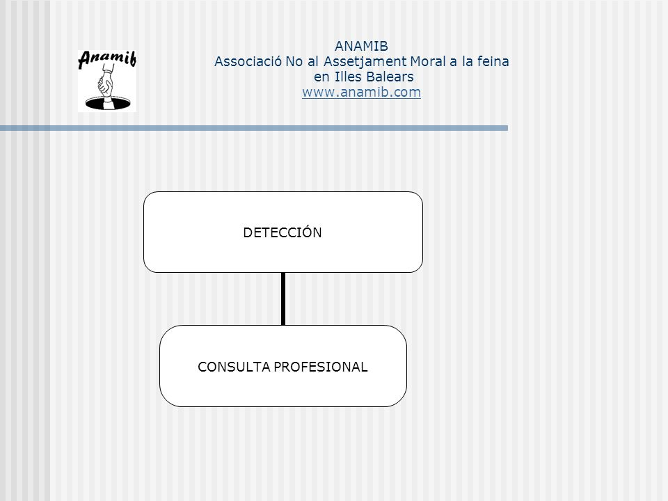 ESTRATEGIAS CONJUNTAS PSICOLOGICAS Y JURÍDICAS SEGURIDAD ECONÓMICA Psicológicas: Refuerzo de la autoestima Apertura al cambio Capacitación profesional Jurídicas: Gran Empresa/administración: Preferencia por la movilidad Pequeña empresa: Extinción de la relación laboral ANAMIB Associació No al Assetjament Moral a la feina en Illes Balears www.anamib.com www.anamib.com