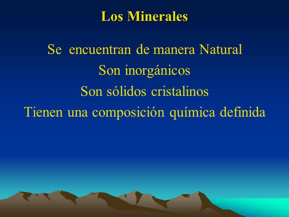 Los Minerales Se encuentran de manera Natural Son inorgánicos Son sólidos cristalinos Tienen una composición química definida