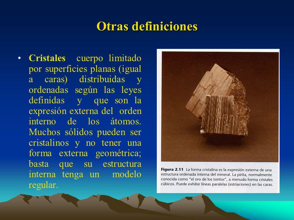 Otras definiciones Cristales cuerpo limitado por superficies planas (igual a caras) distribuidas y ordenadas según las leyes definidas y que son la ex