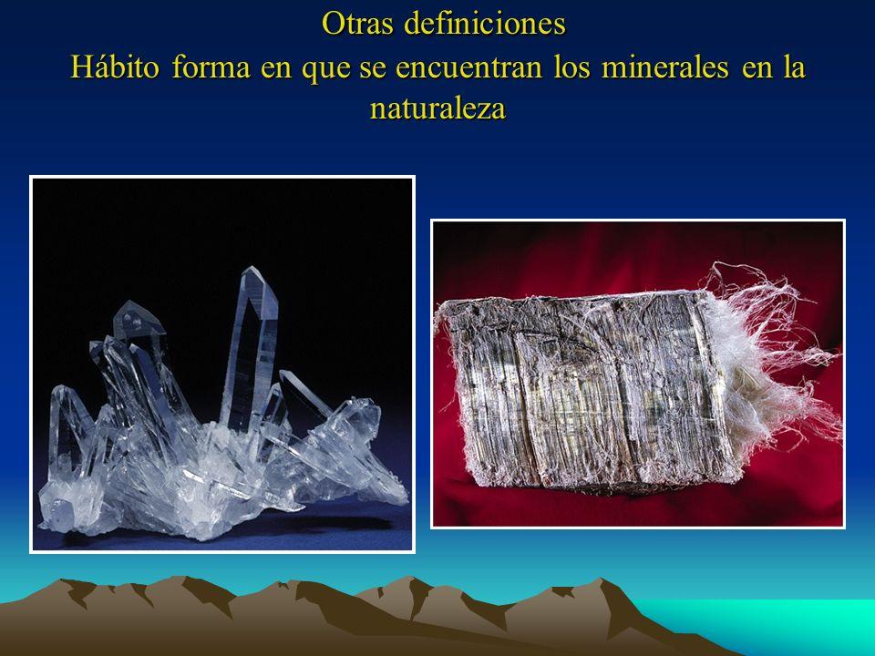 Otras definiciones Hábito forma en que se encuentran los minerales en la naturaleza Otras definiciones Hábito forma en que se encuentran los minerales