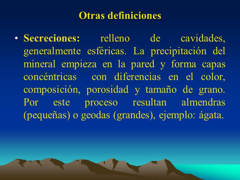 Otras definiciones Secreciones: relleno de cavidades, generalmente esféricas. La precipitación del mineral empieza en la pared y forma capas concéntri
