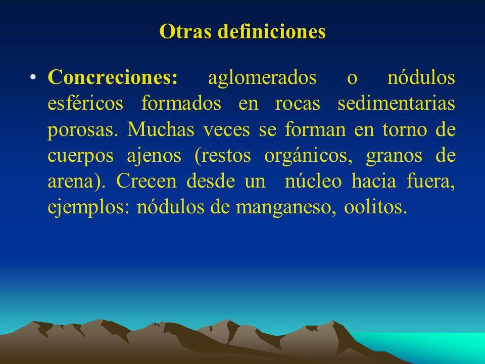 Otras definiciones Concreciones: aglomerados o nódulos esféricos formados en rocas sedimentarias porosas. Muchas veces se forman en torno de cuerpos a