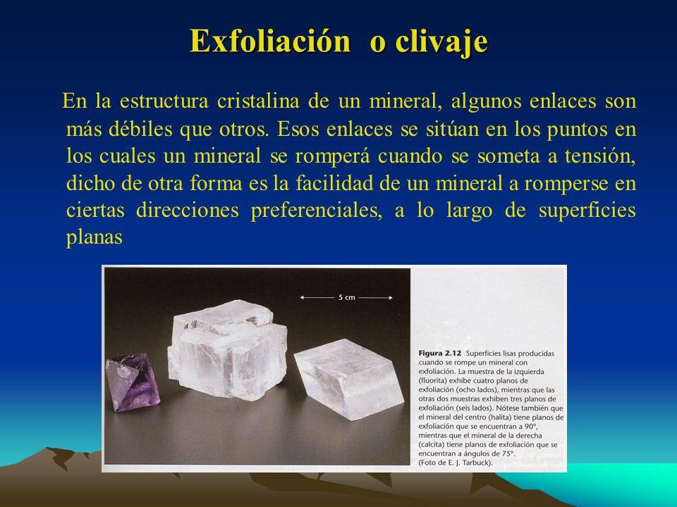 Exfoliación o clivaje En la estructura cristalina de un mineral, algunos enlaces son más débiles que otros. Esos enlaces se sitúan en los puntos en lo
