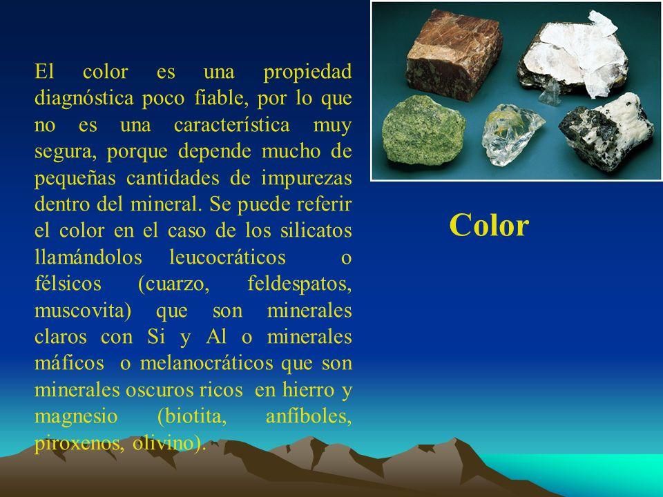 Color El color es una propiedad diagnóstica poco fiable, por lo que no es una característica muy segura, porque depende mucho de pequeñas cantidades d