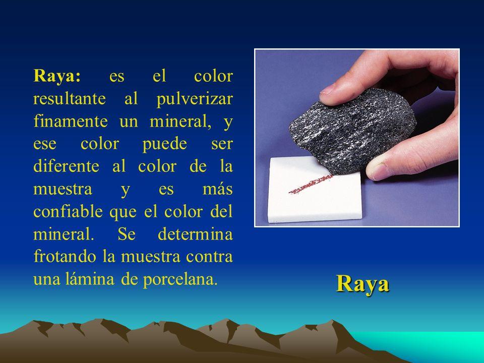 Raya Raya: es el color resultante al pulverizar finamente un mineral, y ese color puede ser diferente al color de la muestra y es más confiable que el