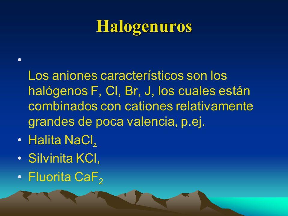 Halogenuros Los aniones característicos son los halógenos F, Cl, Br, J, los cuales están combinados con cationes relativamente grandes de poca valenci
